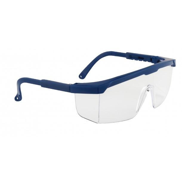 Klassisk sikkerhedsbrille - Klar m. blåt stel