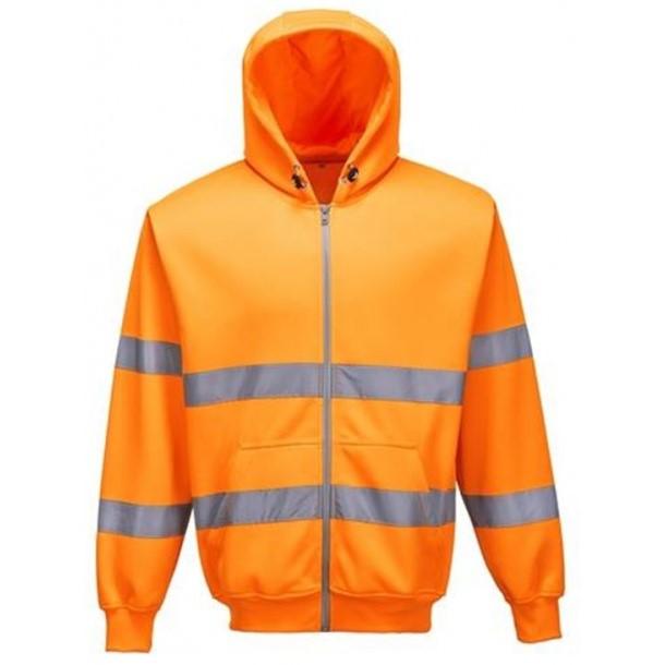 sweatshirt med hætte og lynlås