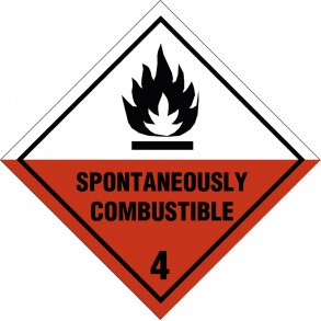 Spontaneously combustible kl. 4 fareseddel